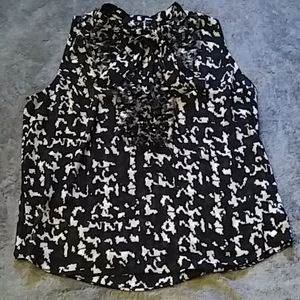 Guess sheer black and white blouse